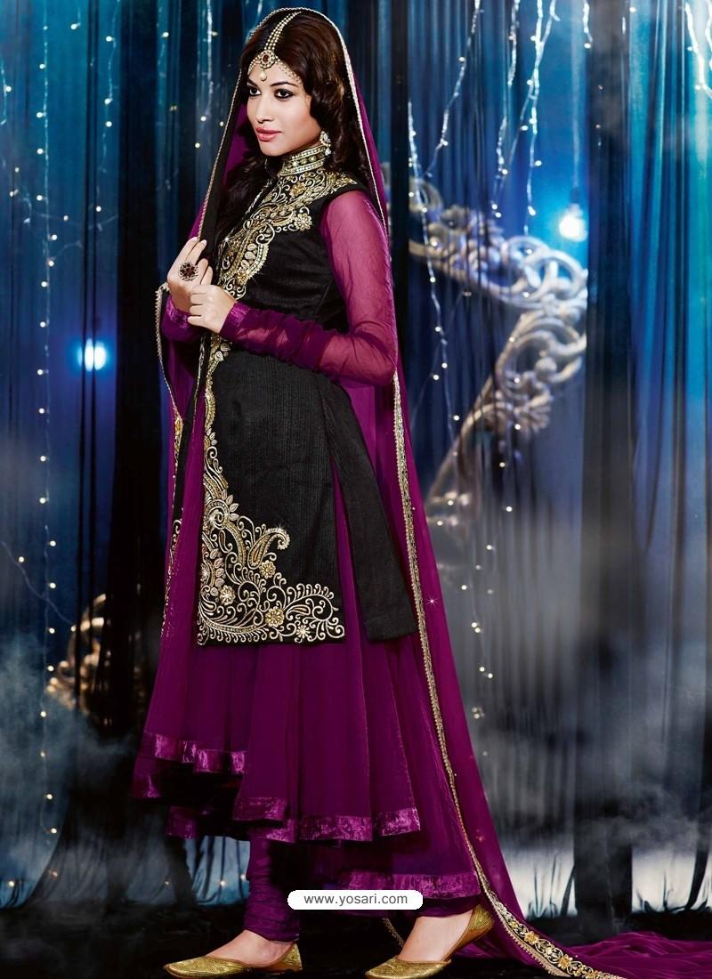 Back And Purple Velvet Anarkali Suit