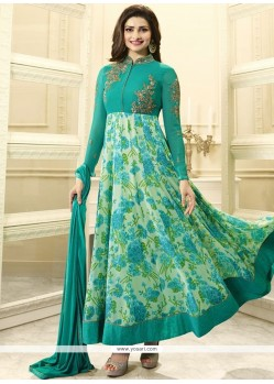 Prachi Desai Sea Green Faux Georgette Anarkali Suit