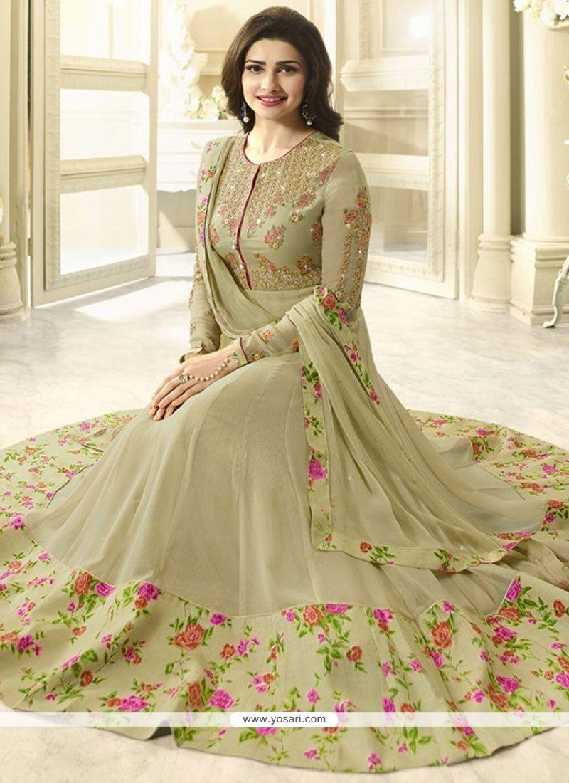 Prachi Desai Green Embroidered Work Anarkali Suit