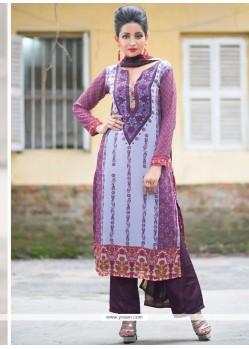 Masterly Purple Digital Print Work Designer Straight Suit