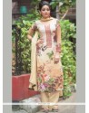 Delectable Cream Digital Print Work Faux Georgette Designer Straight Suit
