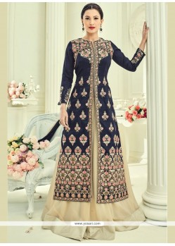 Gauhar Khan Navy Blue Long Choli Lehenga