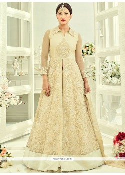 Gauhar Khan Embroidered Work Beige Net Long Choli Lehenga