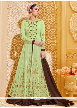 Deserving Embroidered Work Faux Georgette Long Choli Lehenga