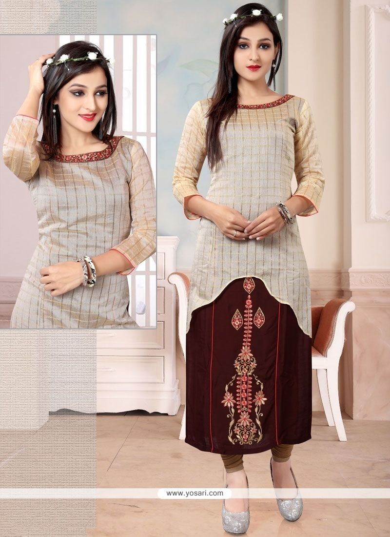 Brown And Cream Chanderi Party Wear Kurti
