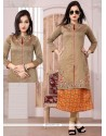 Compelling Beige Embroidered Work Chanderi Party Wear Kurti