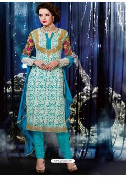 Sky Blue Georgette Churidar Suit
