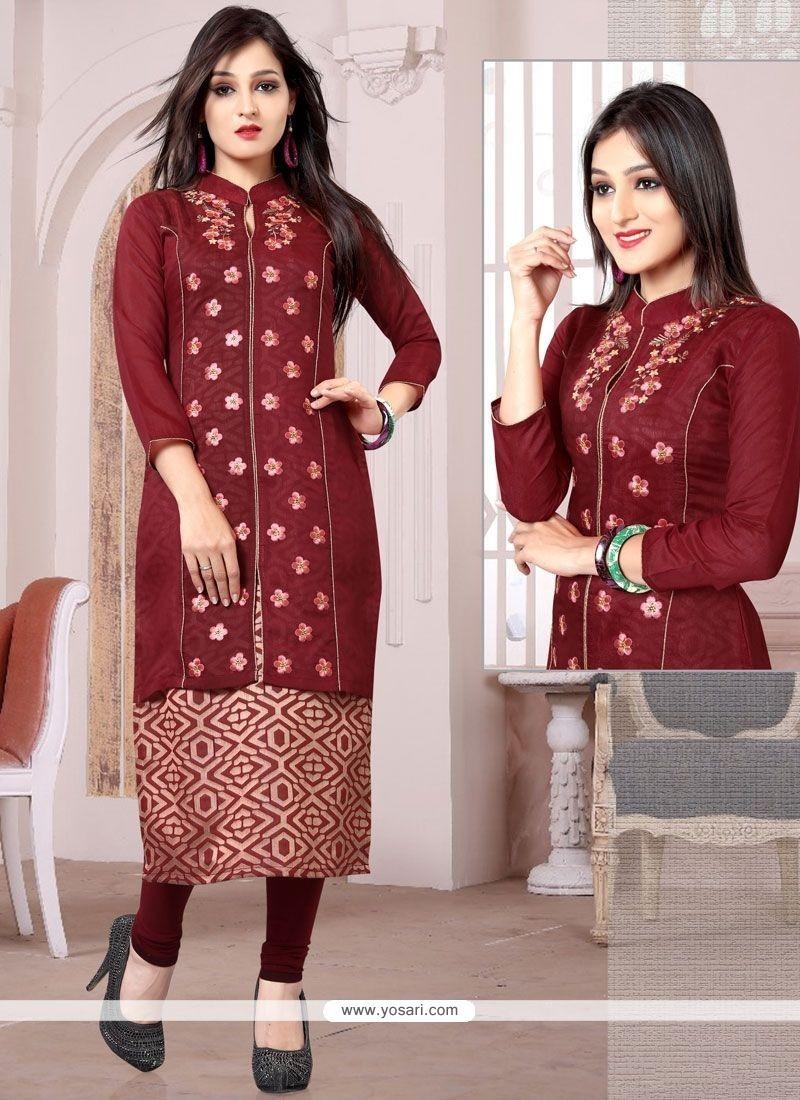 Modern Embroidered Work Maroon Chanderi Party Wear Kurti