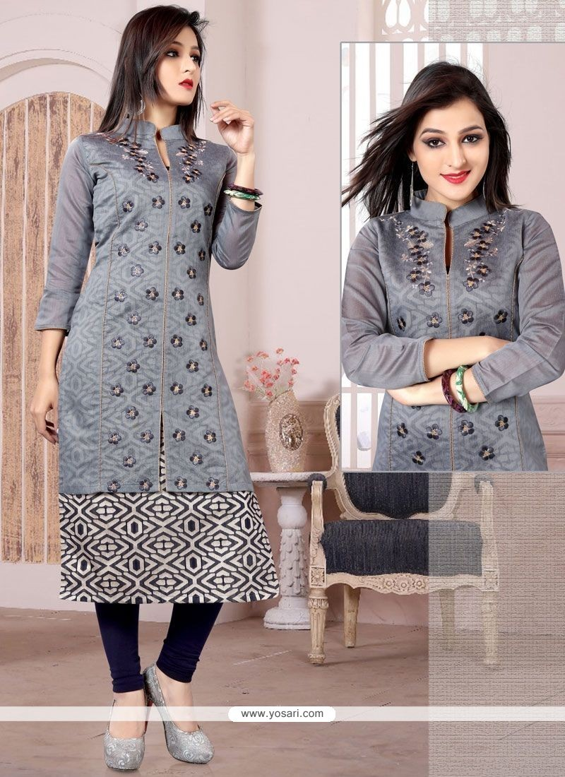 Princely Chanderi Grey Embroidered Work Party Wear Kurti