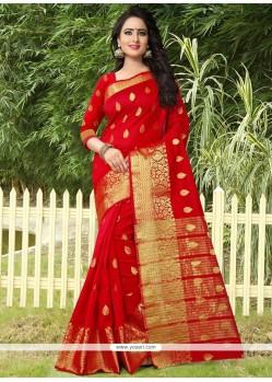 Elegant Red Weaving Work Banarasi Silk Traditional Designer Saree