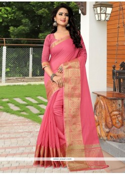 Epitome Banarasi Silk Pink Traditional Designer Saree