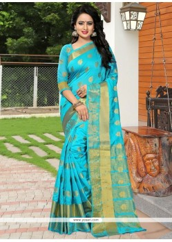 Compelling Banarasi Silk Turquoise Weaving Work Traditional Designer Saree