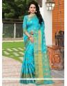 Compelling Banarasi Silk Turquoise Weaving Work Traditional Designer Saree