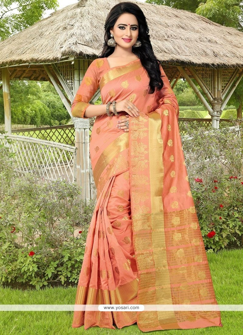 Catchy Banarasi Silk Peach Traditional Designer Saree