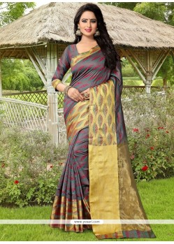 Congenial Grey Weaving Work Banarasi Silk Traditional Saree