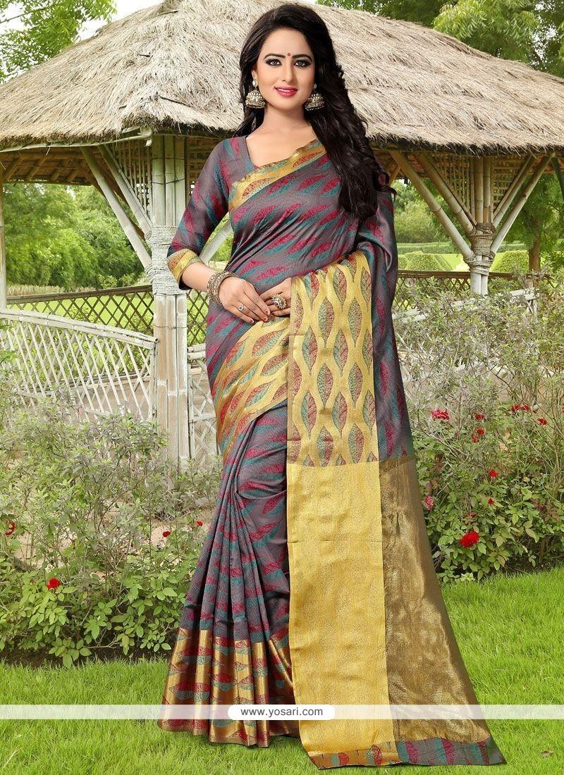 Congenial Grey Weaving Work Banarasi Silk Traditional Saree