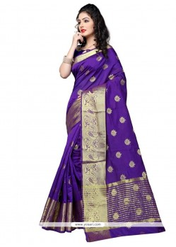 Exciting Weaving Work Violet Designer Traditional Saree