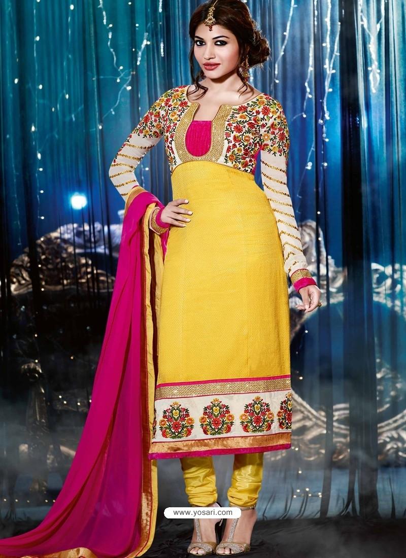 Multicolor Silk,Jacquard Churidar Suit