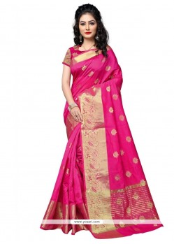 Incredible Cotton Silk Hot Pink Weaving Work Traditional Designer Saree
