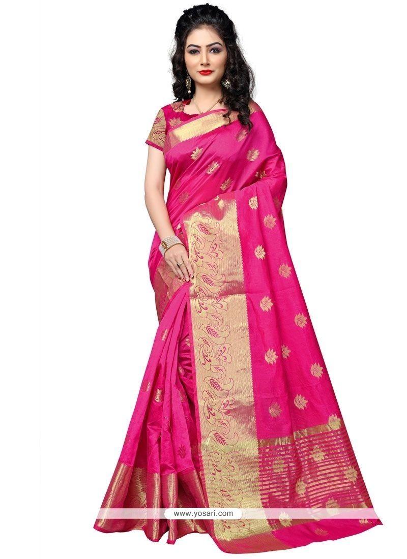 Incredible Cotton Silk Hot Pink Weaving Work Traditional Designer Saree