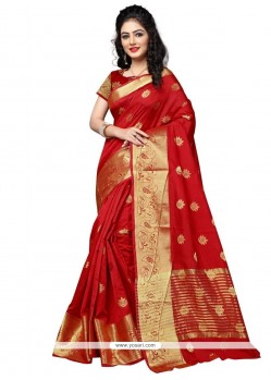 Divine Cotton Silk Red Weaving Work Traditional Saree