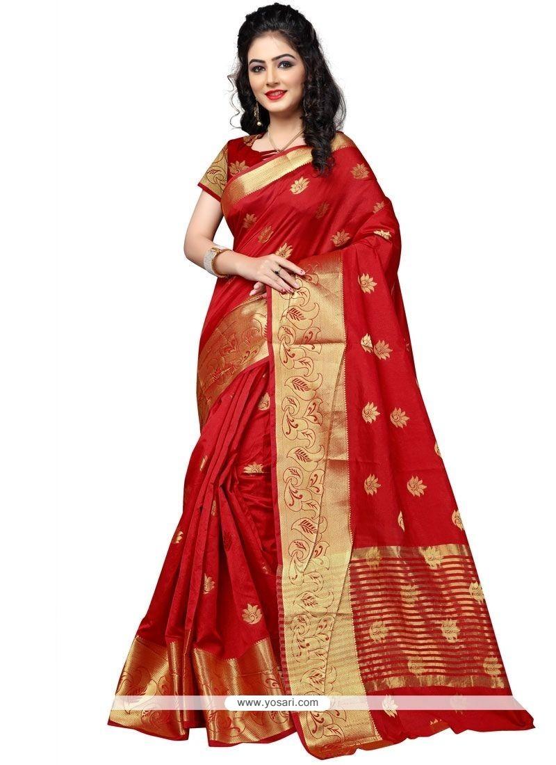Divine Cotton Silk Red Weaving Work Traditional Saree