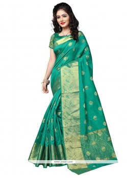Arresting Cotton Silk Teal Traditional Designer Saree