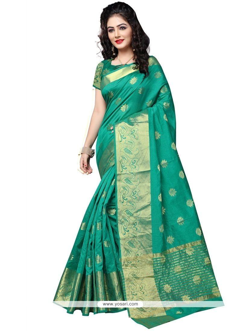 Arresting Cotton Silk Teal Traditional Designer Saree