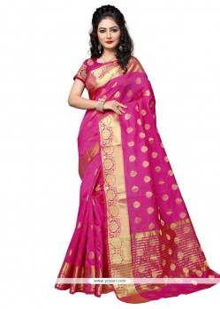 Elegant Weaving Work Hot Pink Cotton Silk Traditional Designer Saree