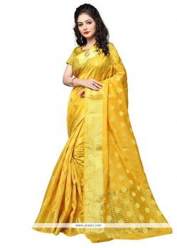 Wonderous Yellow Cotton Silk Designer Traditional Saree