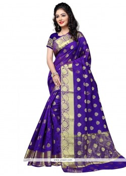 Resplendent Purple Cotton Silk Traditional Saree