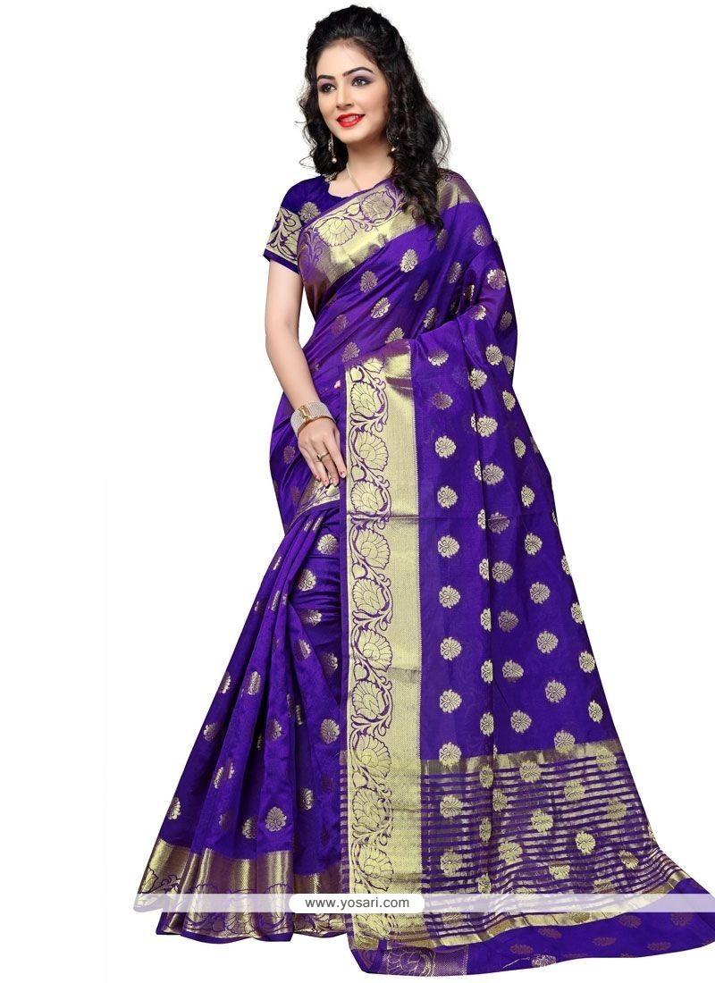 Resplendent Purple Cotton Silk Traditional Saree