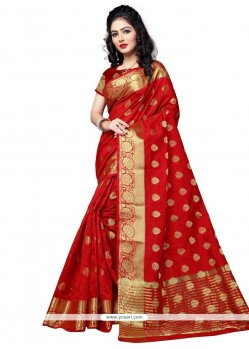 Fascinating Cotton Silk Weaving Work Traditional Designer Saree