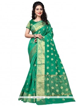 Fantastic Cotton Silk Sea Green Traditional Saree