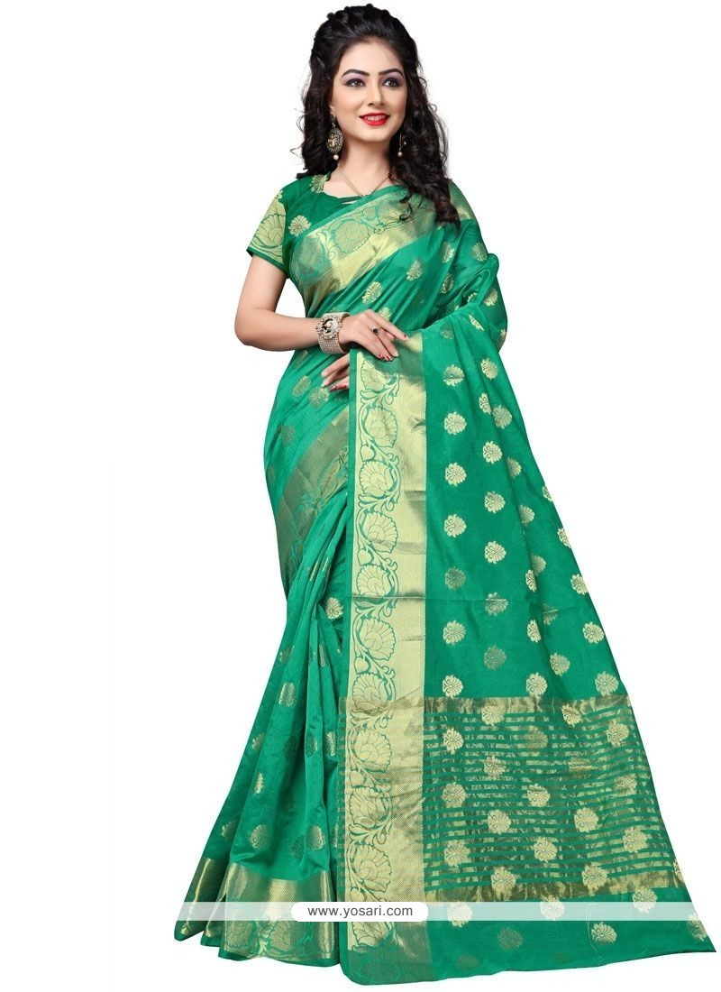 Fantastic Cotton Silk Sea Green Traditional Saree