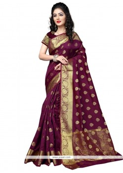 Gilded Cotton Silk Weaving Work Designer Traditional Saree