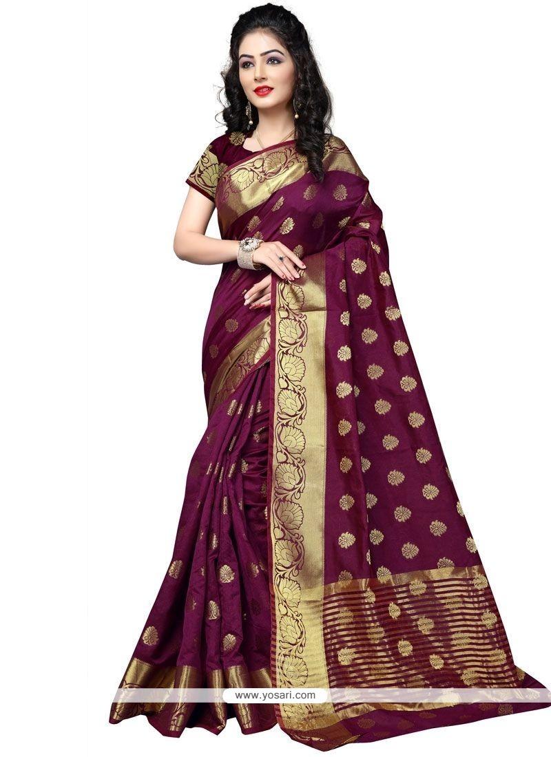 Gilded Cotton Silk Weaving Work Designer Traditional Saree