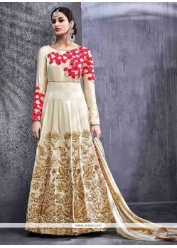 Opulent Art Silk Cream Zari Work Floor Length Anarkali Suit