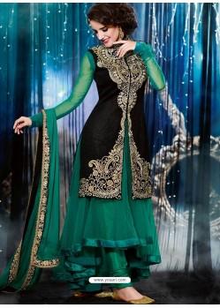 Green And Black Velvet Anarkali Suit