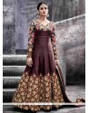Splendid Brown Art Silk Floor Length Anarkali Suit
