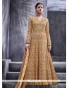 Delectable Beige Art Silk Floor Length Anarkali Suit