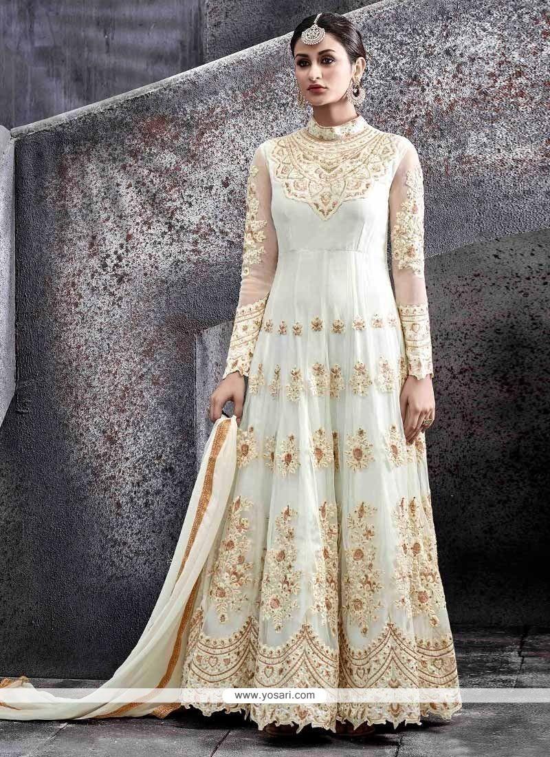 Observable Lace Work Net Floor Length Anarkali Suit