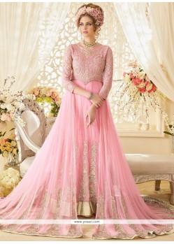Specialised Pink Floor Length Designer Suit