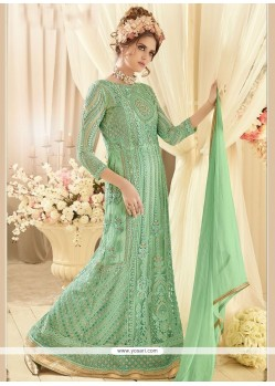 Prodigious Sea Green Floor Length Designer Suit