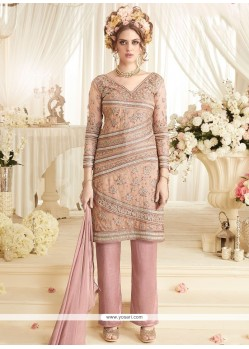 Lace Net Designer Suit In Pink