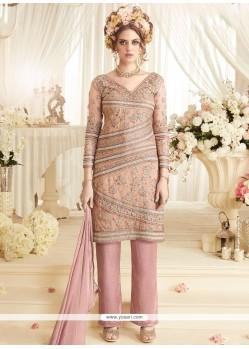 Lace Net Designer Suit In Pink