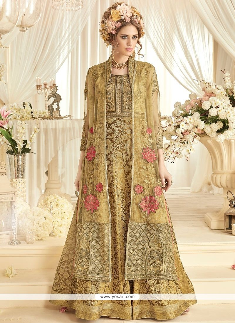Enthralling Beige Banarasi Silk Floor Length Designer Suit