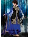 Blue And Black Velvet Anarkali Suit