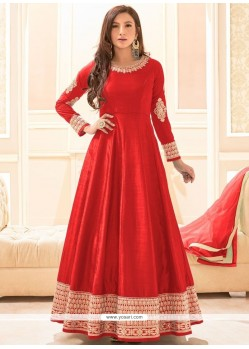 Adorable Art Silk Red Embroidered Work Floor Length Anarkali Suit