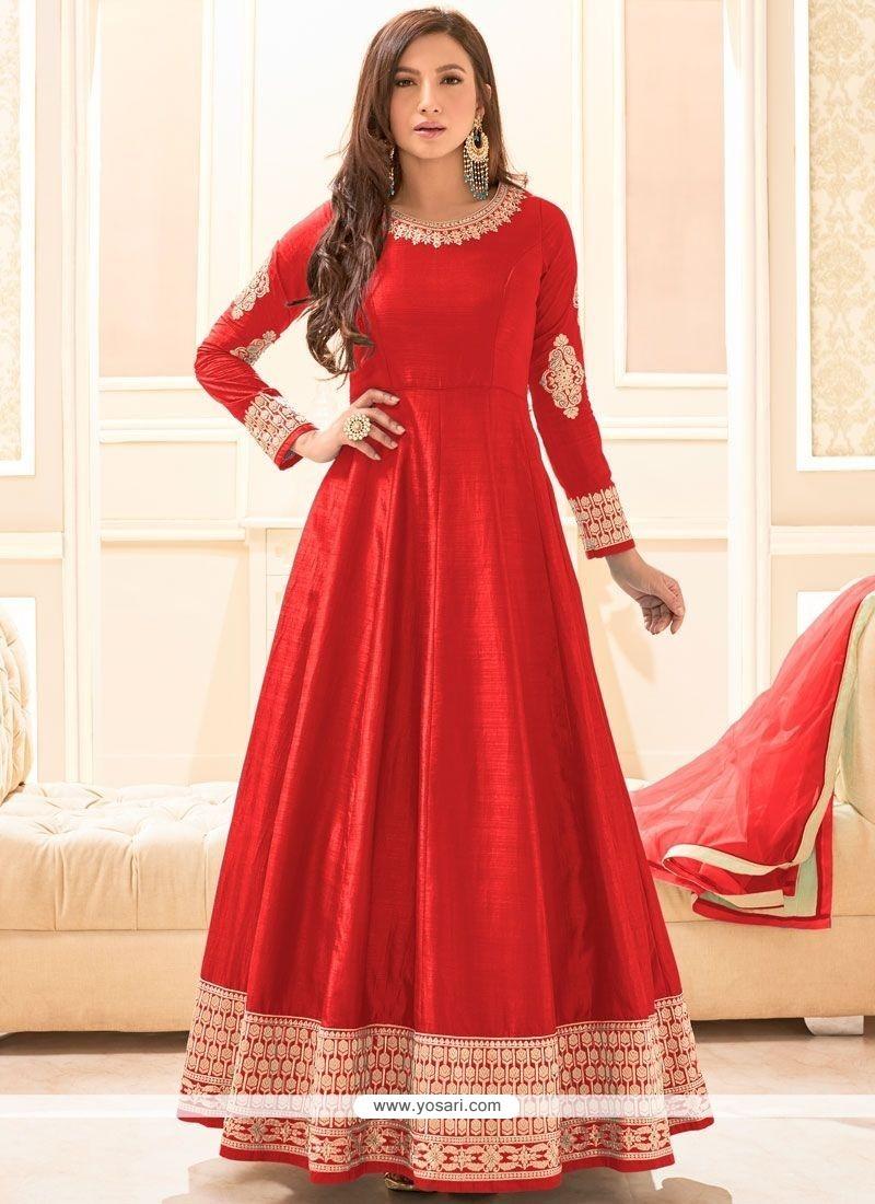 Adorable Art Silk Red Embroidered Work Floor Length Anarkali Suit